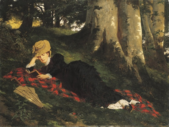 Woman Reading in a Forest by Gyula Benzur